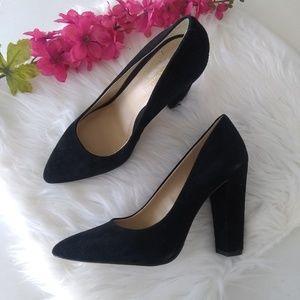 BCBGeneration Black Suede Pointed Toe Block Heels